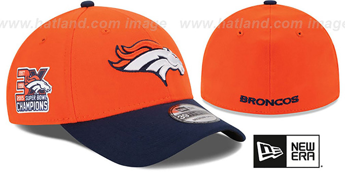 Broncos 'NFL 3X SUPER BOWL CHAMPS FLEX' Orange-Navy Hat by New Era : pictured without stickers that these products are shipped with