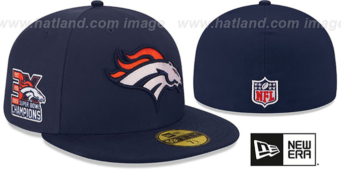 Broncos 'NFL 3X SUPER BOWL CHAMPS' Navy Fitted Hat by New Era : pictured without stickers that these products are shipped with