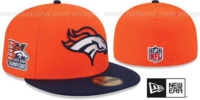 Broncos 'NFL 3X SUPER BOWL CHAMPS' Orange-Navy Fitted Hat by New Era : pictured without stickers that these products are shipped with