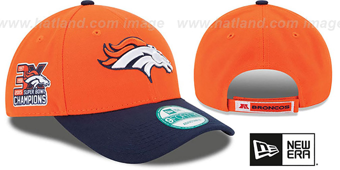 Broncos 'NFL 3X SUPER BOWL CHAMPS' Orange-Navy Strapback Hat by New Era : pictured without stickers that these products are shipped with