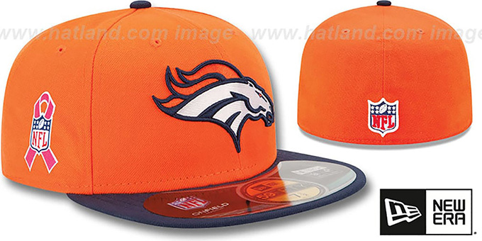 Broncos 'NFL BCA' Orange-Navy Fitted Hat by New Era : pictured without stickers that these products are shipped with