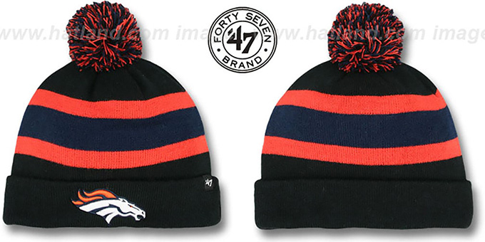 Broncos 'NFL BREAKAWAY' Black Knit Beanie Hat by 47 Brand : pictured without stickers that these products are shipped with