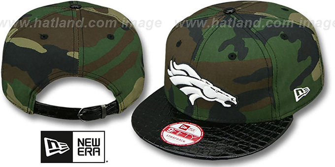 Broncos 'NFL CAMO-CROC STRAPBACK' Adjustable Hat by New Era : pictured without stickers that these products are shipped with
