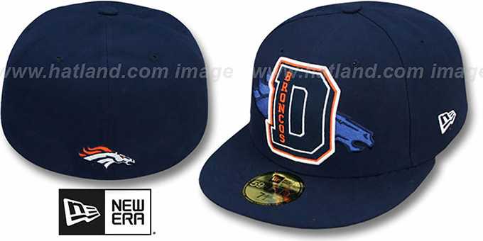 Broncos 'NFL FELTN' Navy Fitted Hat by New Era : pictured without stickers that these products are shipped with