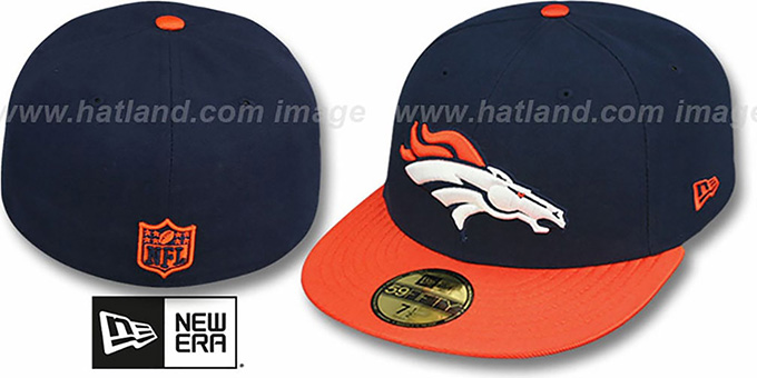 Broncos 'NFL JERSEY-BASIC' Navy-Orange Fitted Hat by New Era : pictured without stickers that these products are shipped with
