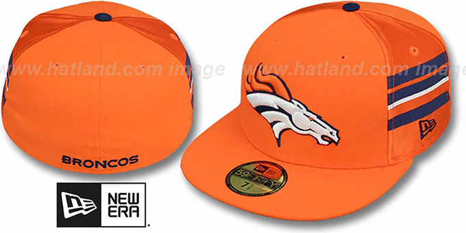 Broncos 'NFL JERSEY-STRIPE' Orange Fitted Hat by New Era : pictured without stickers that these products are shipped with