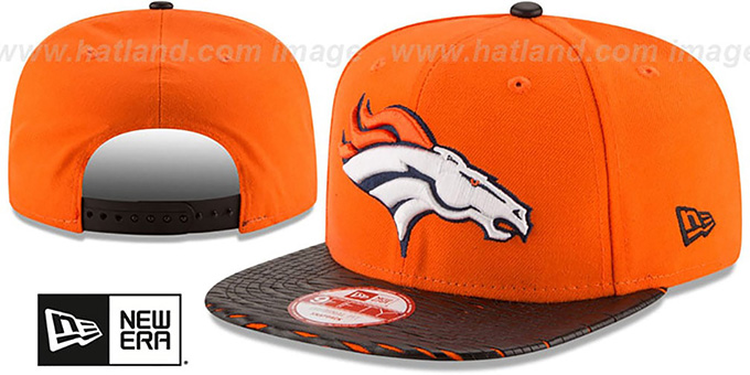 Broncos 'NFL LEATHER-RIP SNAPBACK' Orange-Black Hat by New Era : pictured without stickers that these products are shipped with