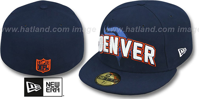 Broncos 'NFL ONFIELD DRAFT' Navy Fitted Hat by New Era : pictured without stickers that these products are shipped with