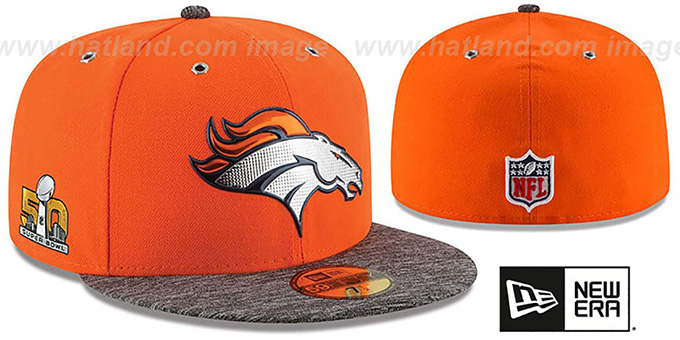 Broncos 'NFL SUPER BOWL 50 ONFIELD' Fitted Hat by New Era : pictured without stickers that these products are shipped with