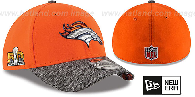Broncos 'NFL SUPER BOWL 50 ONFIELD FLEX' Hat by New Era : pictured without stickers that these products are shipped with