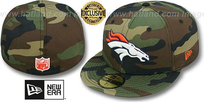 Broncos 'NFL TEAM-BASIC' Army Camo Fitted Hat by New Era : pictured without stickers that these products are shipped with