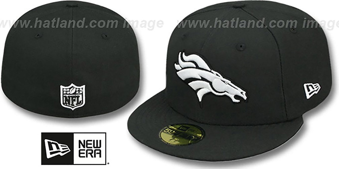 Broncos 'NFL TEAM-BASIC' Black-White Fitted Hat by New Era : pictured without stickers that these products are shipped with