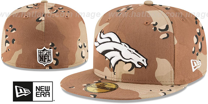 Broncos 'NFL TEAM-BASIC' Desert Storm Camo Fitted Hat by New Era : pictured without stickers that these products are shipped with