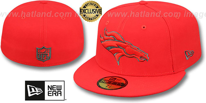 Broncos 'NFL TEAM-BASIC' Fire Red-Charcoal Fitted Hat by New Era