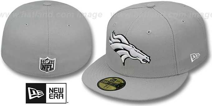Broncos 'NFL TEAM-BASIC' Grey-Black-White Fitted Hat by New Era : pictured without stickers that these products are shipped with