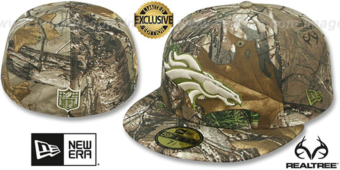 Broncos 'NFL TEAM-BASIC' Realtree Camo Fitted Hat by New Era : pictured without stickers that these products are shipped with