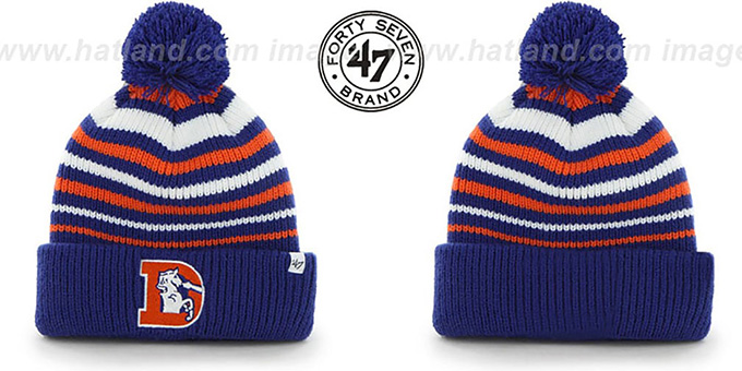 Broncos NFL THROWBACK 'INCLINE' Knit Beanie Hat by 47 Brand : pictured without stickers that these products are shipped with