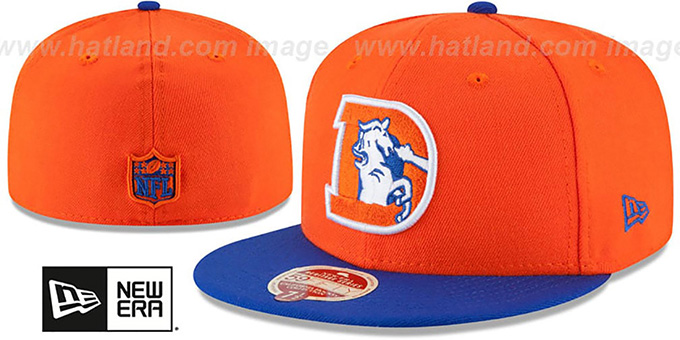 Broncos 'NFL THROWBACK WOOL-STANDARD' Orange-Royal Fitted Hat by New Era : pictured without stickers that these products are shipped with