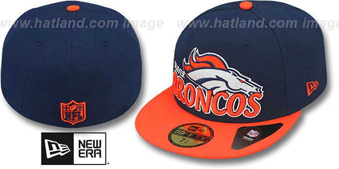 Broncos 'NFL-TIGHT' Navy-Orange Fitted Hat by New Era : pictured without stickers that these products are shipped with