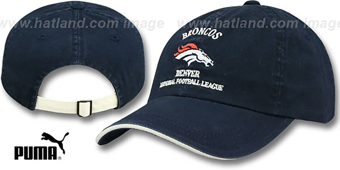 Broncos 'NFL WASHED' Strapback Hat by Puma : pictured without stickers that these products are shipped with
