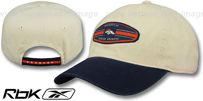 Broncos 'DADDYCAP' Strapback Oatmeal-Navy Hat by Reebok : pictured without stickers that these products are shipped with