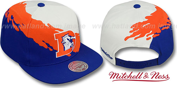 Broncos 'PAINTBRUSH SNAPBACK' White-Orange-Royal Hat by Mitchell & Ness : pictured without stickers that these products are shipped with