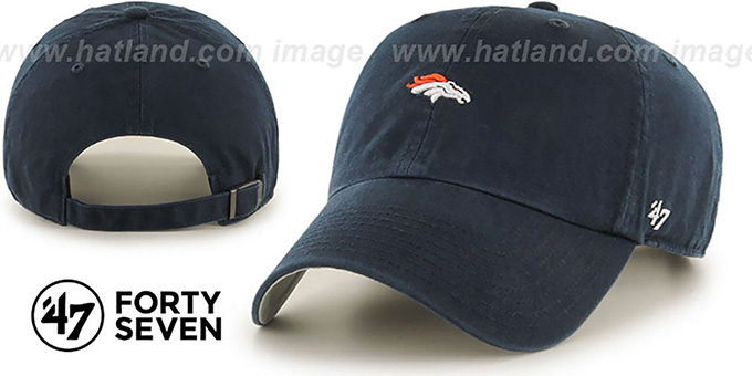 Broncos 'POLO STRAPBACK' Navy Hat by Twins 47 Brand : pictured without stickers that these products are shipped with