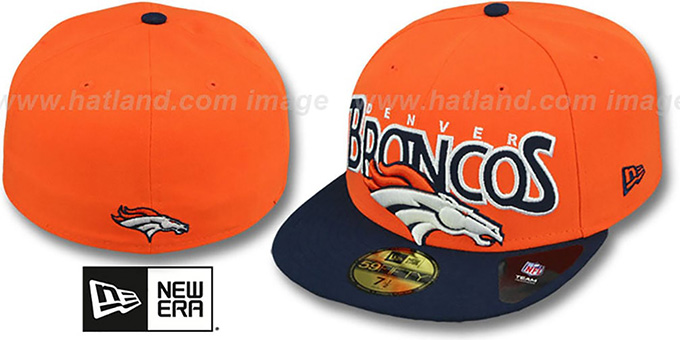 Broncos 'PROFILIN' Orange-Navy Fitted Hat by New Era : pictured without stickers that these products are shipped with