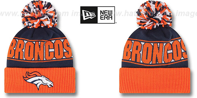 Broncos 'REP-UR-TEAM' Knit Beanie Hat by New Era : pictured without stickers that these products are shipped with