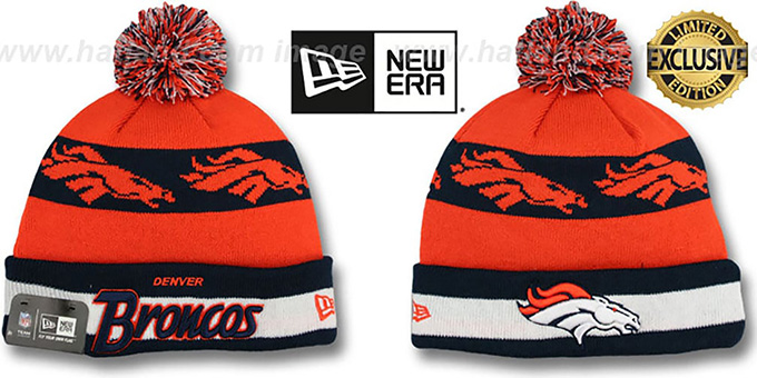 Broncos 'REPEATER SCRIPT' Knit Beanie Hat by New Era : pictured without stickers that these products are shipped with
