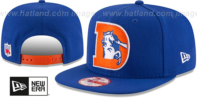 Broncos 'RETRO-BASIC SNAPBACK' Royal Hat by New Era : pictured without stickers that these products are shipped with