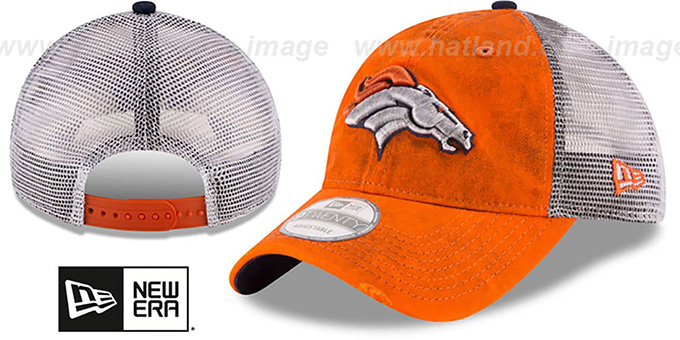Broncos 'RUSTIC TRUCKER SNAPBACK' Hat by New Era : pictured without stickers that these products are shipped with
