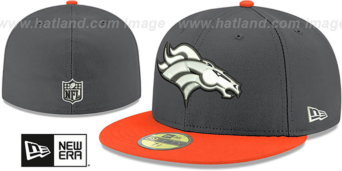 Broncos 'SHADER MELT-2' Grey-Orange Fitted Hat by New Era : pictured without stickers that these products are shipped with