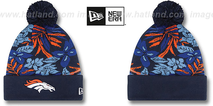 Broncos 'SNOW-TROPICS' Navy Knit Beanie Hat by New Era : pictured without stickers that these products are shipped with
