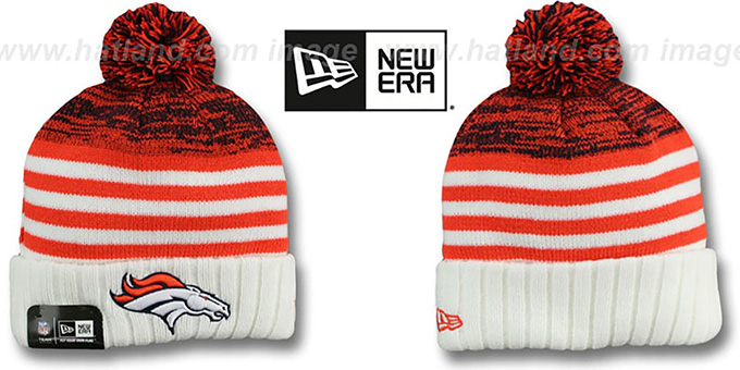 Broncos 'SNOWFALL STRIPE' Knit Beanie Hat by New Era : pictured without stickers that these products are shipped with