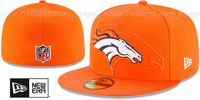 Broncos 'STADIUM SHADOW' Orange Fitted Hat by New Era : pictured without stickers that these products are shipped with