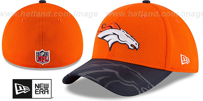 Broncos 'STADIUM TRAINING FLEX' Orange-Navy Hat by New Era : pictured without stickers that these products are shipped with