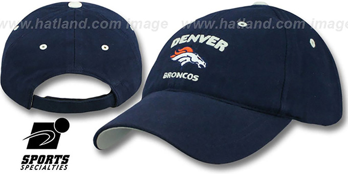 Broncos 'STAMP' Strapback Navy Hat by SPL28 : pictured without stickers that these products are shipped with