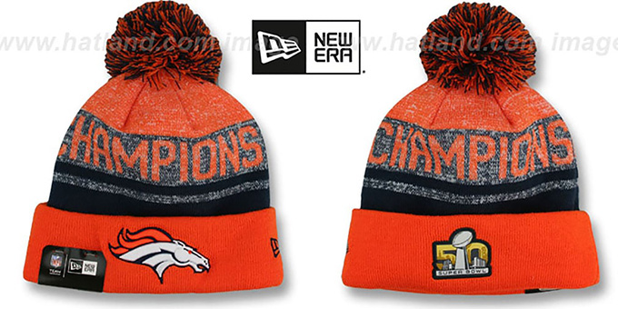 e902d8c2 Denver Broncos SUPER BOWL 50 CHAMPS Knit Beanie Hat by New Era