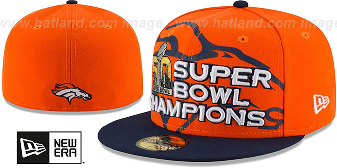 Broncos 'SUPER BOWL 50 CHAMPS' Orange-Navy Fitted Hat by New Era : pictured without stickers that these products are shipped with
