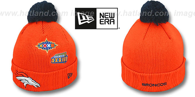 Broncos 'SUPER BOWL PATCHES' Orange Knit Beanie Hat by New Era : pictured without stickers that these products are shipped with