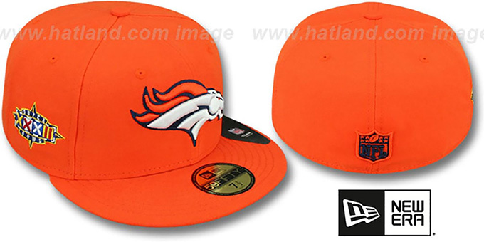 Broncos 'SUPER BOWL XXXII' Orange Fitted Hat by New Era : pictured without stickers that these products are shipped with