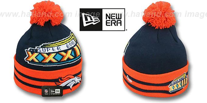 92b8904fc Broncos  SUPER BOWL XXXIII  Navy Knit Beanie Hat by New Era