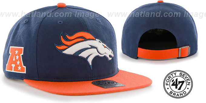 Broncos 'SUPER-SHOT STRAPBACK' Navy-Orange Hat by Twins 47 Brand : pictured without stickers that these products are shipped with