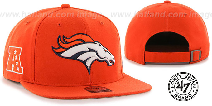 Broncos 'SUPER-SHOT STRAPBACK' Orange Hat by Twins 47 Brand : pictured without stickers that these products are shipped with