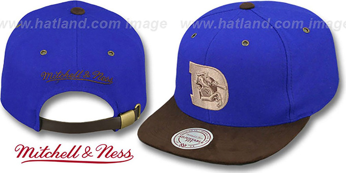 Broncos 'TC-BROWN SUEDE STRAPBACK' Hat Mitchell & Ness : pictured without stickers that these products are shipped with