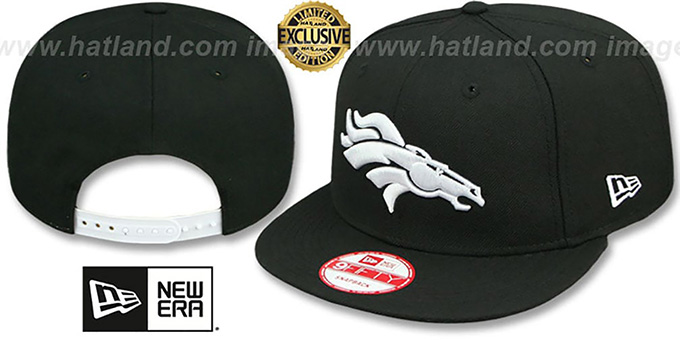 Broncos 'TEAM-BASIC SNAPBACK' Black-White Hat by New Era : pictured without stickers that these products are shipped with