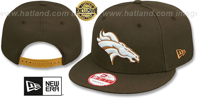 Broncos 'TEAM-BASIC SNAPBACK' Brown-Wheat Hat by New Era : pictured without stickers that these products are shipped with