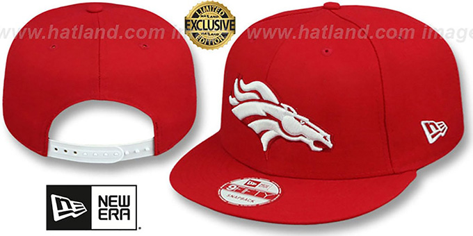 Broncos 'TEAM-BASIC SNAPBACK' Red-White Hat by New Era : pictured without stickers that these products are shipped with