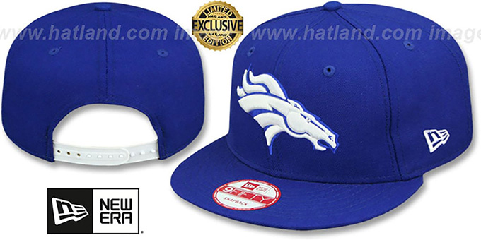 Broncos 'TEAM-BASIC SNAPBACK' Royal-White Hat by New Era : pictured without stickers that these products are shipped with
